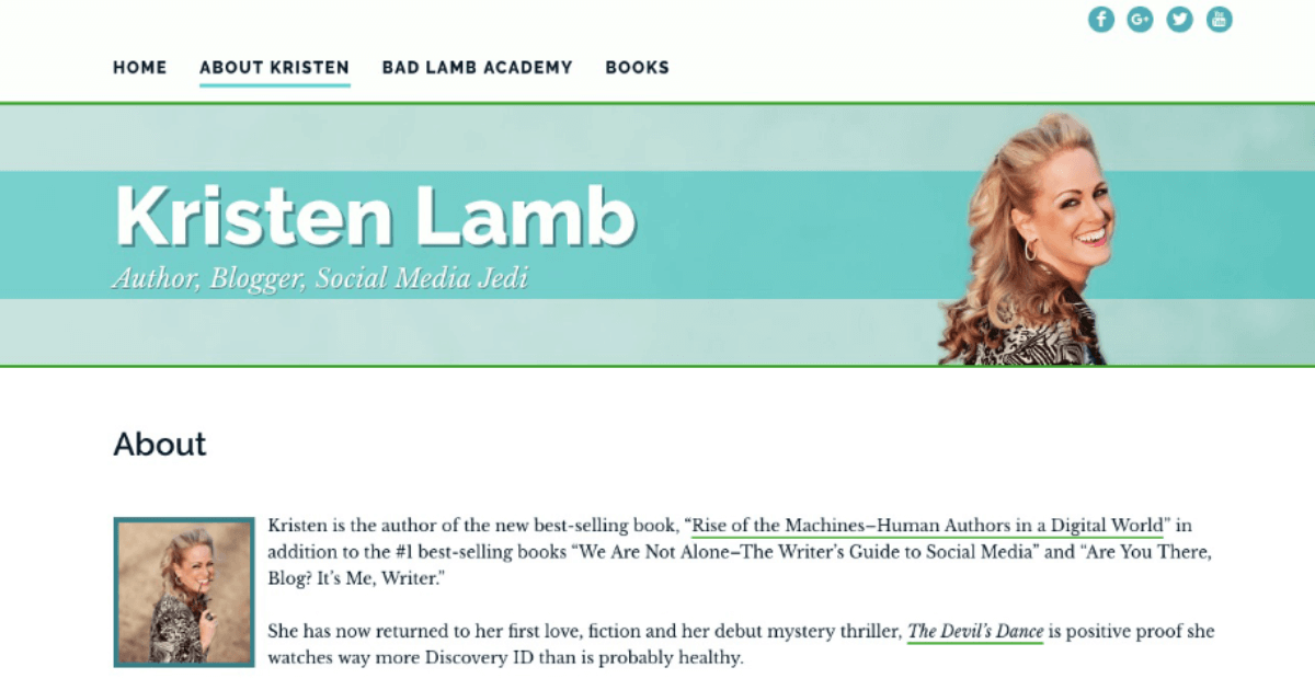 website for author and social media guru Kristen Lamb