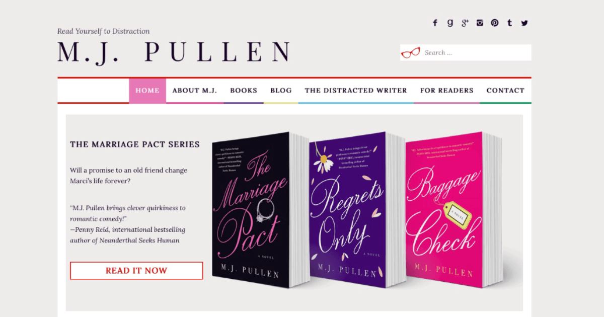 author website design & development for M.J. Pullen