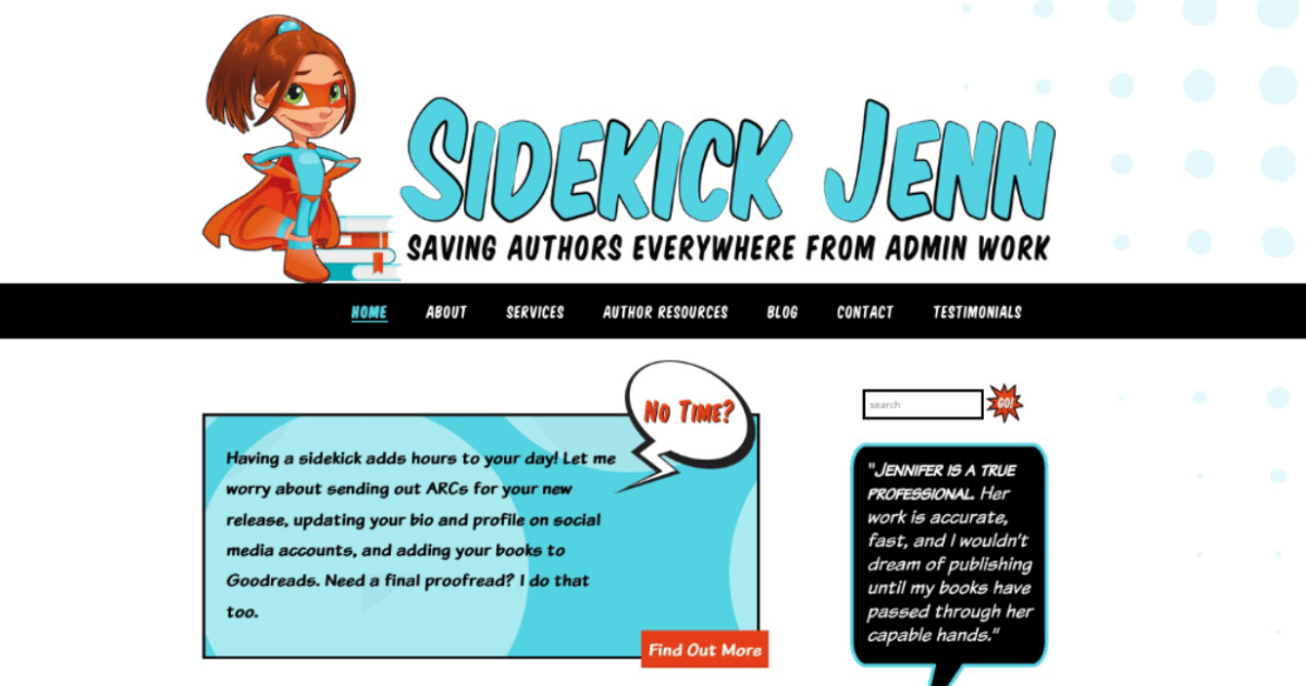 logo and website for author assistant Sidekick Jenn