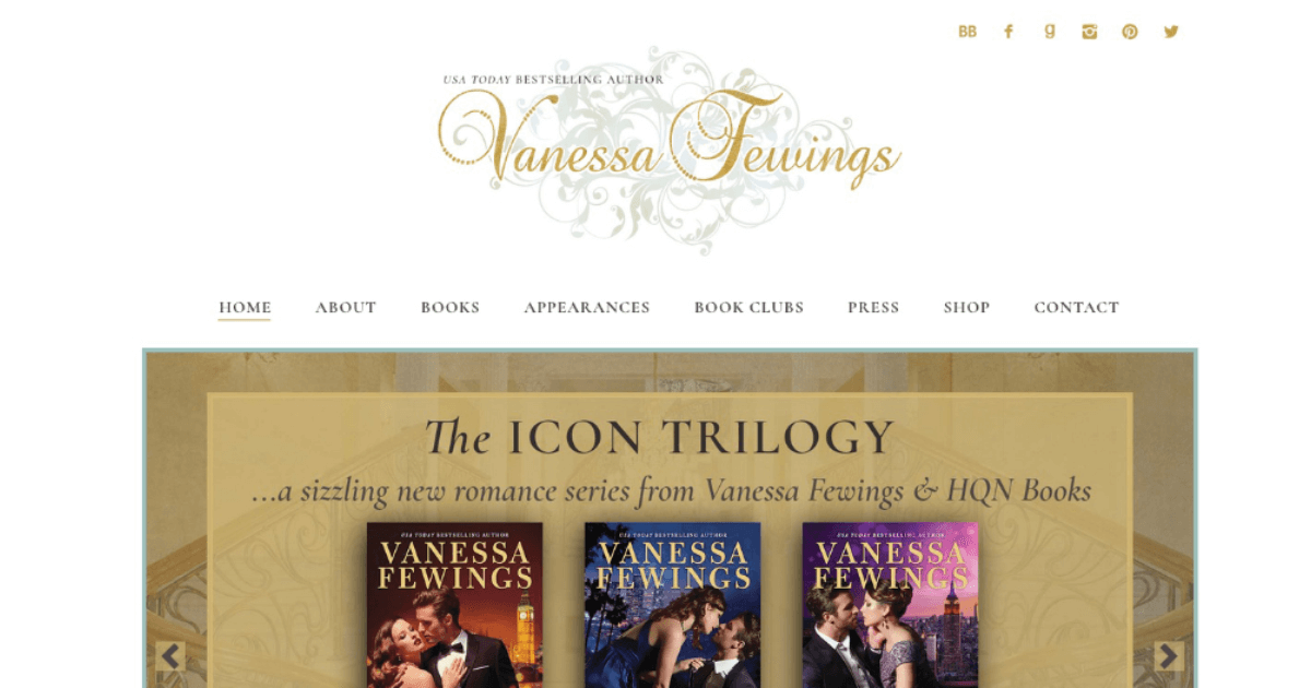 romance author website for bestseller Vanessa Fewings